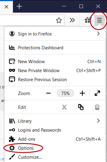 Firefox Options button