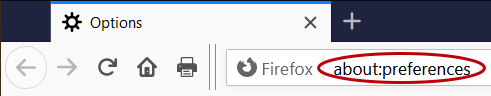 Firefox settings page