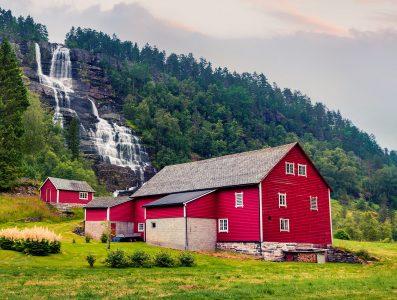 Barn and Waterfall Jigsaw Puzzle