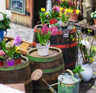 Barrels and Flowers Jigsaw Puzzle