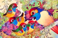 Bird Family Watercolor