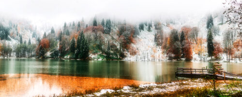 Black Lake in Snow Jigsaw Puzzle