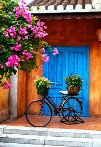 Blue Door and Bicycle Jigsaw Puzzle