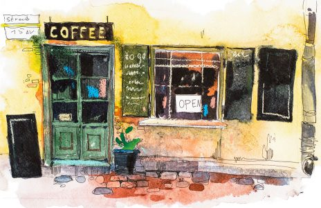 Coffee Shop Watercolor Jigsaw Puzzle