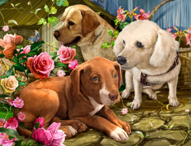 Dogs and Roses Jigsaw Puzzle