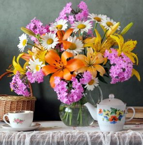 Flowers and Tea Jigsaw Puzzle