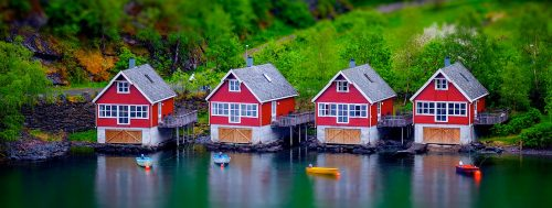 Four Boathouses Jigsaw Puzzle