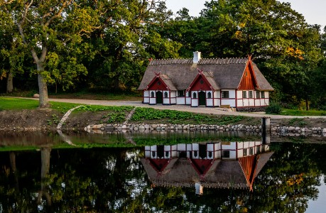 House at Pond Jigsaw Puzzle