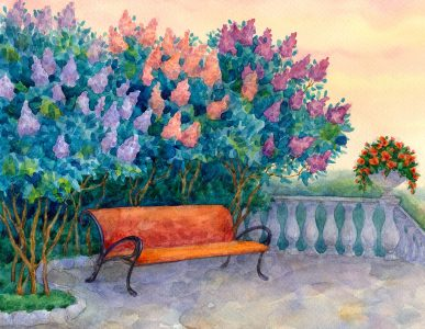Lilacs and Bench Jigsaw Puzzle