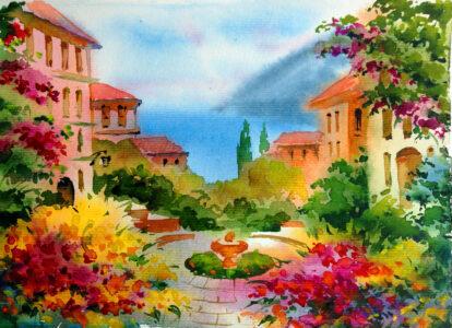 Mediterranean Watercolor Jigsaw Puzzle