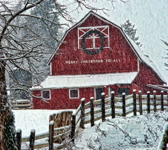 Merry Christmas Barn Jigsaw Puzzle