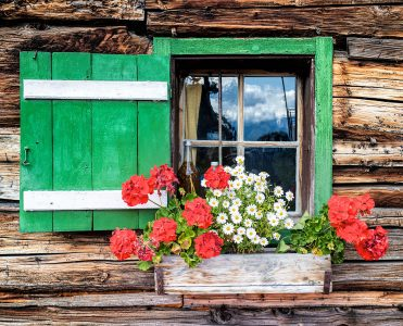 Mountain Cabin Window. Jigsaw Puzzle