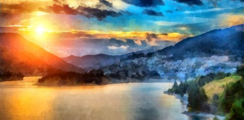 Mountain Lake Sunset Jigsaw Puzzle