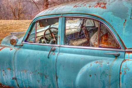 Old Blue Car Jigsaw Puzzle