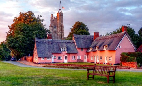 Pink Almshouses Jigsaw Puzzle