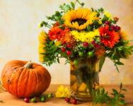 Pumpkin and Flowers Jigsaw Puzzle