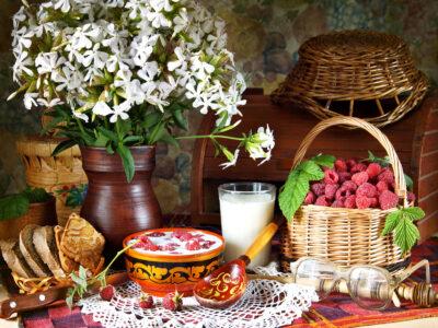 Raspberries and Milk Jigsaw Puzzle