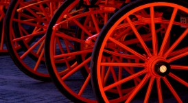 Red Spoked Wheels
