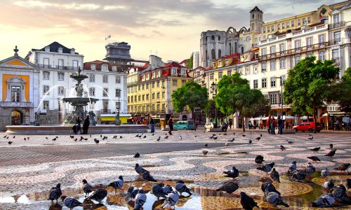 Rossio Square Pigeons Jigsaw Puzzle