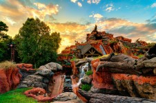 Splash Mountain Sunset Jigsaw Puzzle