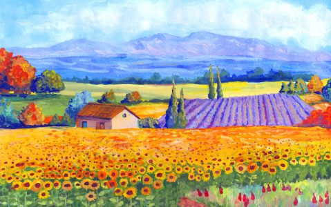 Sunflowers and Lavender Jigsaw Puzzle
