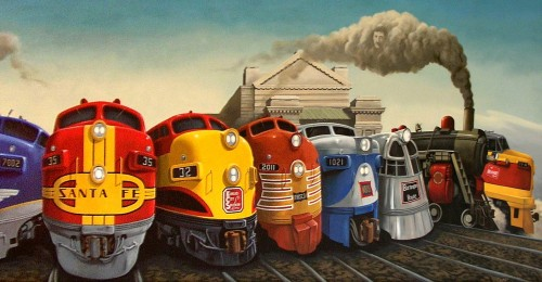 Trains Mural Jigsaw Puzzle