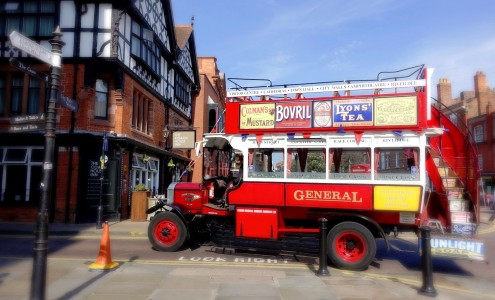 Vintage Red Bus Jigsaw Puzzle