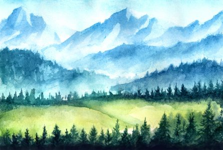 Watercolor Mountains Jigsaw Puzzle