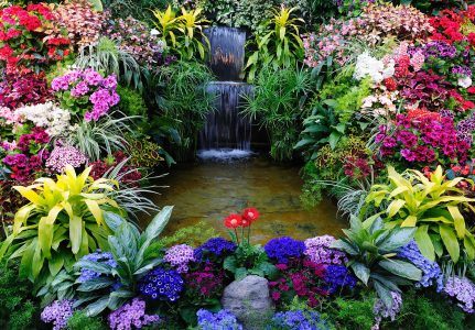Waterfall Flowers Jigsaw Puzzle